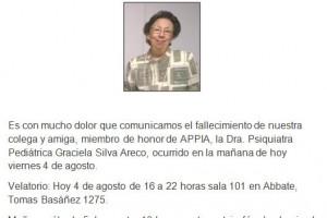 Fallecimiento de la Dra. Graciela Silva Areco